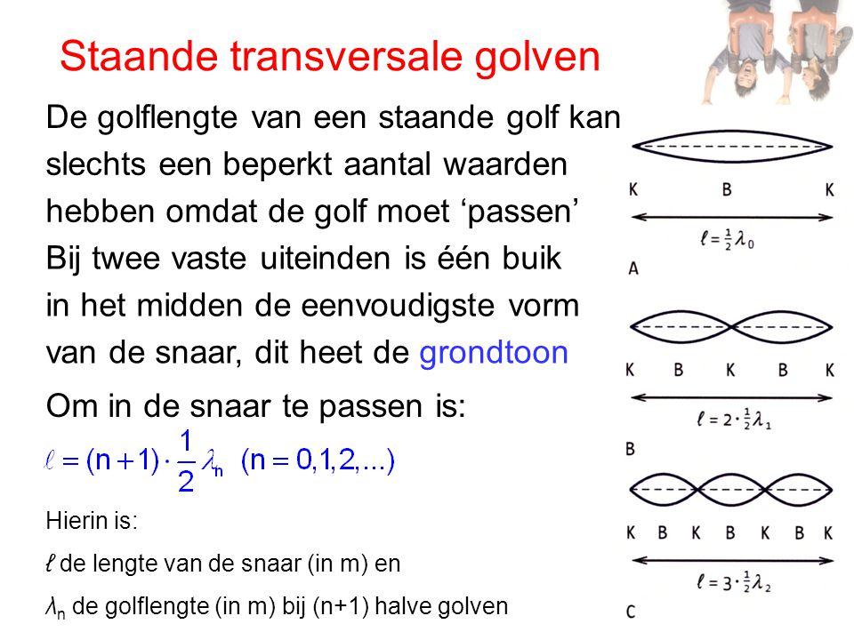 Staande transversale golven De golflengte van een staande golf kan slechts een beperkt aantal waarden hebben omdat de golf moet 'passen' Bij twee vast