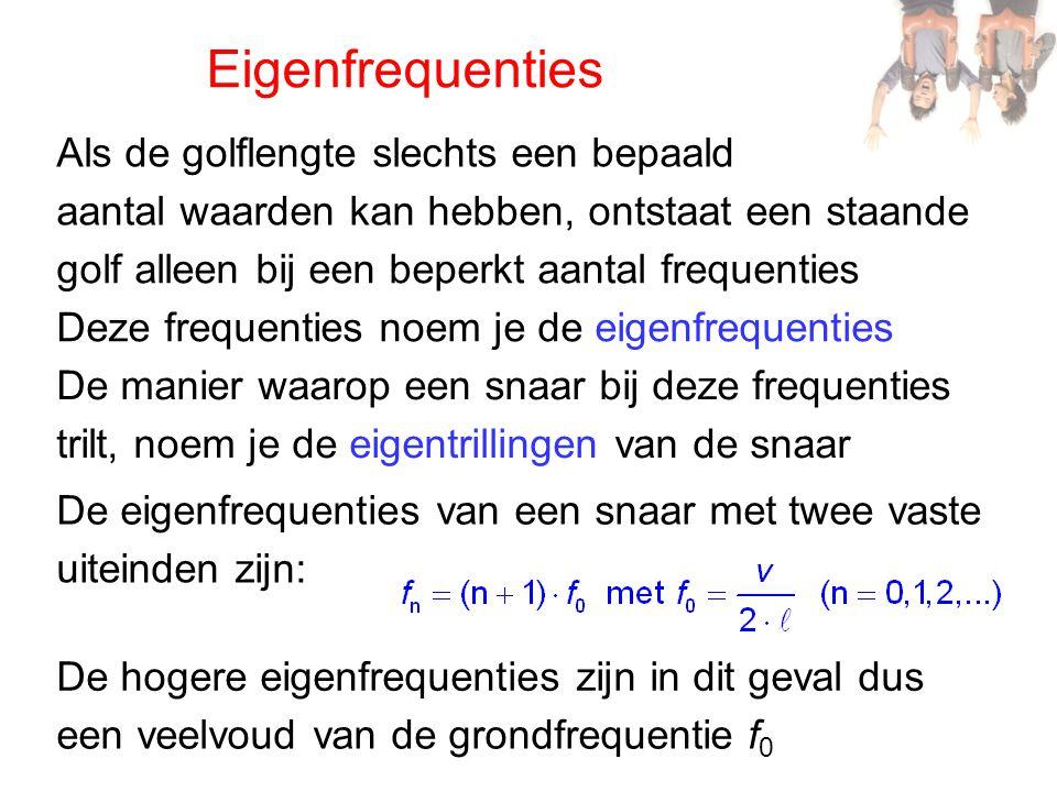 Eigenfrequenties De eigenfrequenties van een snaar met twee vaste Als de golflengte slechts een bepaald aantal waarden kan hebben, ontstaat een staand