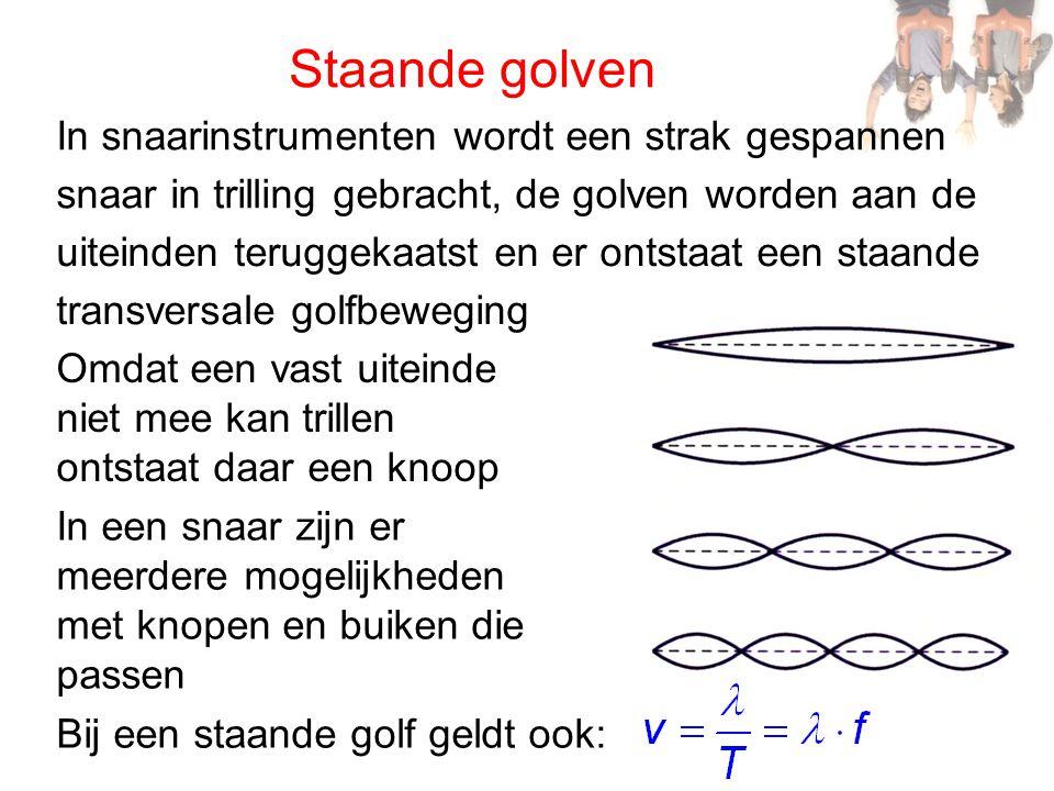 Staande golven Bij een staande golf is het verschil met een lopende golf: • alle punten gaan op hetzelfde moment door de evenwichtsstand • alle punten trillen niet met dezelfde amplitude, de amplitude is maximaal in een buik en nul in een knoop • tussen twee knopen hebben alle punten gelijke fase, aan weerszijde tegengestelde fase