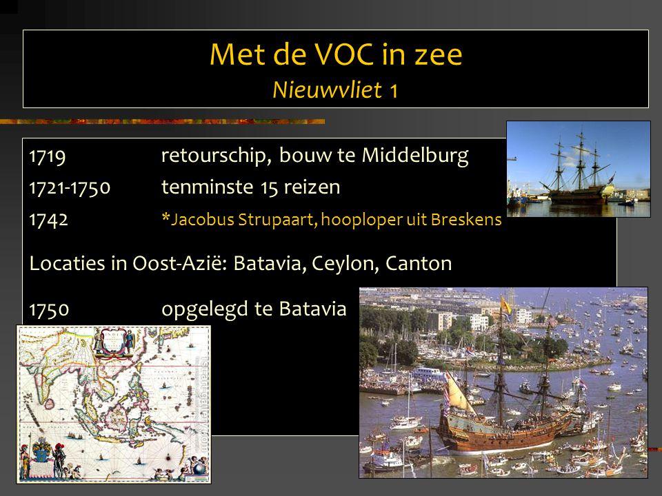 Met de VOC in zee Nieuwvliet 1 1719 retourschip, bouw te Middelburg 1721-1750tenminste 15 reizen 1742 *Jacobus Strupaart, hooploper uit Breskens Locaties in Oost-Azië: Batavia, Ceylon, Canton 1750 opgelegd te Batavia