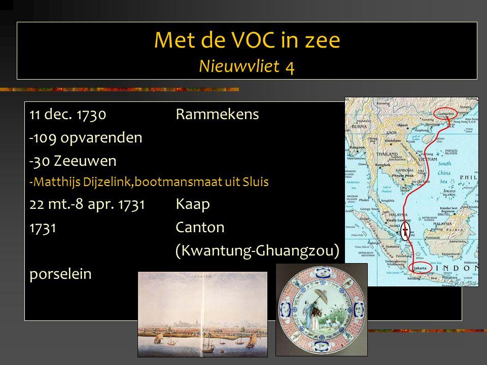 Met de VOC in zee Nieuwvliet 5 Lading van de Nieuwvliet uit Canton 1733