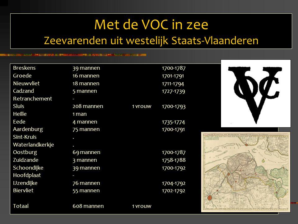 Met de VOC in zee Zeevarenden uit westelijk Staats-Vlaanderen Breskens39 mannen 1700-1787 Groede16 mannen 1701-1791 Nieuwvliet18 mannen 1711-1794 Cadzand5 mannen 1727-1739 Retranchement- Sluis 208 mannen 1 vrouw 1700-1793 Heille1 man Eede4 mannen 1735-1774 Aardenburg75 mannen 1700-1791 Sint-Kruis.