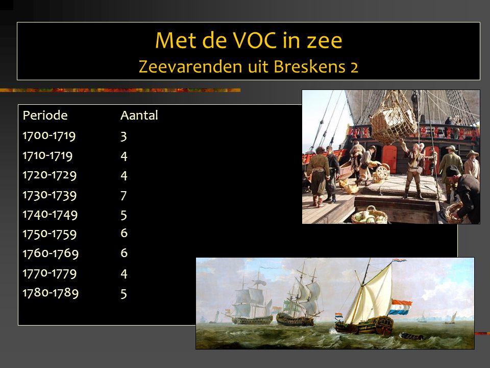 Met de VOC in zee Zeevarenden uit Breskens 3 Eindbestemming Aantal reizen44 Batavia40 Ceylon3 China1 Kamers Zeeland39 Amsterdam3 Delft2