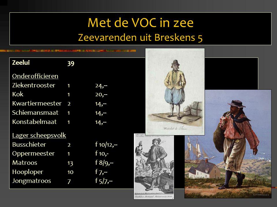 Met de VOC in zee Zeevarenden uit Breskens 5 Zeelui39 Onderofficieren Ziekentrooster 124,-- Kok 120,-- Kwartiermeester 214,-- Schiemansmaat 114,-- Konstabelmaat 114,-- Lager scheepsvolk Busschieter 2f 10/12,-- Oppermeester1f 10,- Matroos 13f 8/9,-- Hooploper 10f 7,-- Jongmatroos 7f 5/7,--