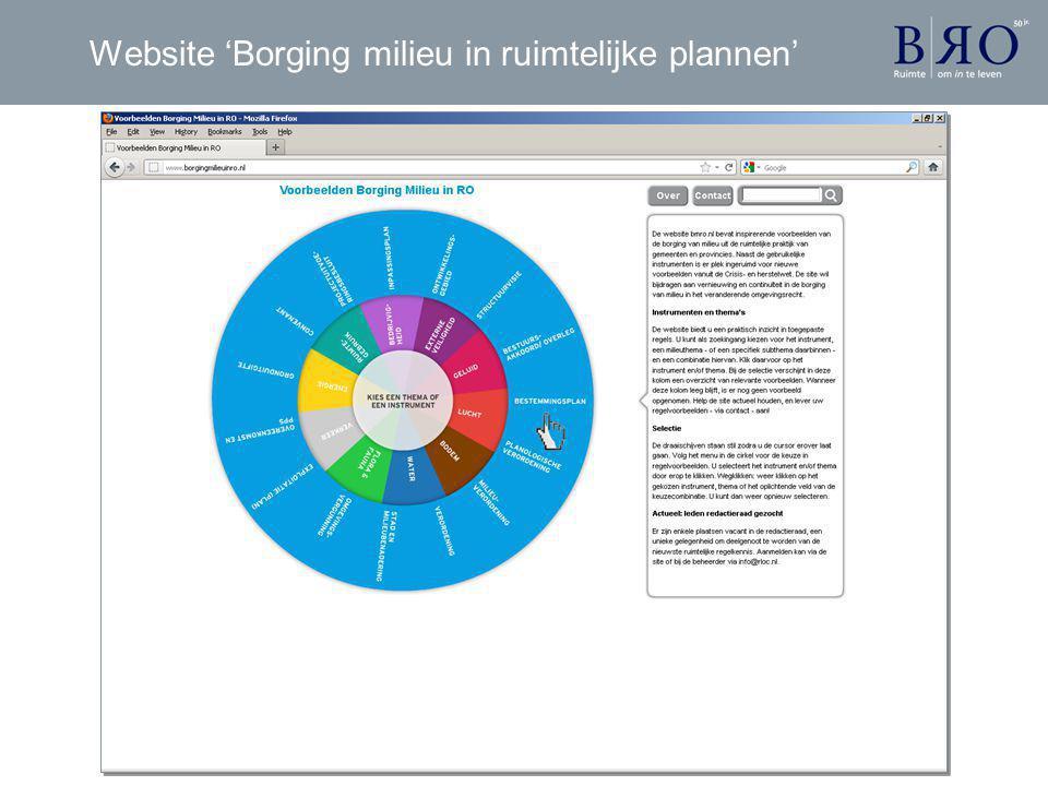 Website 'Borging milieu in ruimtelijke plannen'