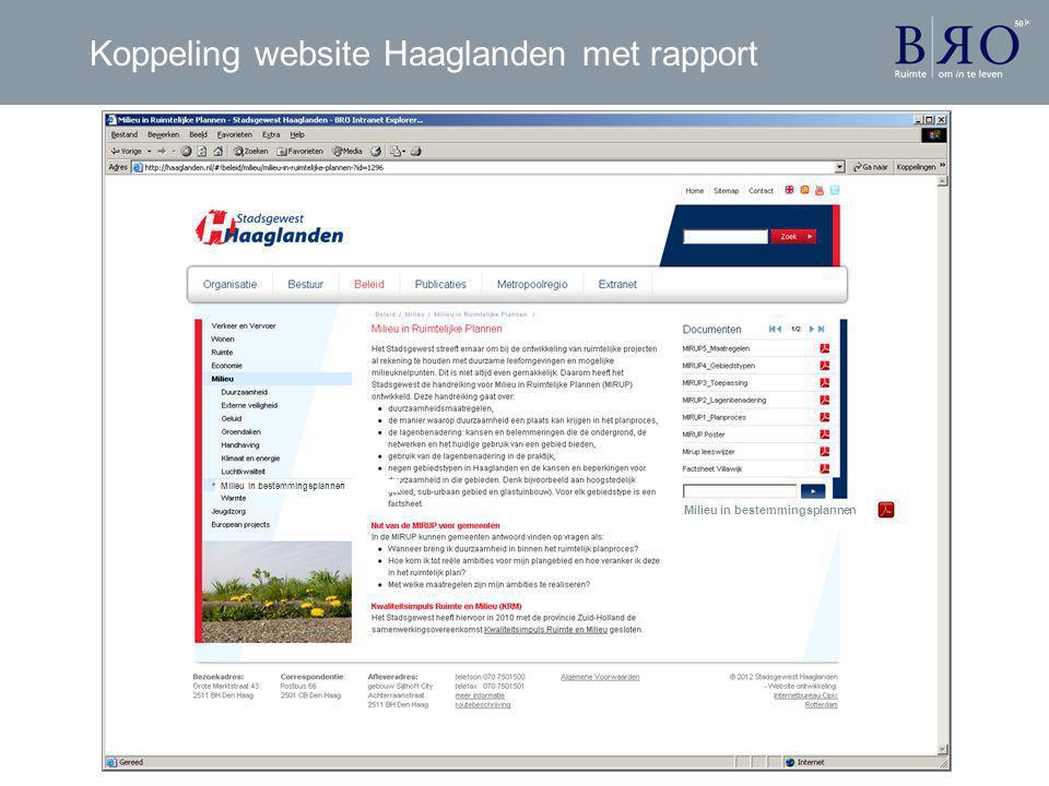 Koppeling website Haaglanden met rapport Milieu in bestemmingsplannen