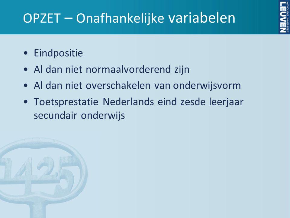 RESULTATEN – Toetsprestatie Nederlands •Geen significant effect •Wél zelfde niet-significante tendens in de drie vormen van hoger onderwijs en dit zowel op korte als op lange termijn: Leerlingen met een hogere score op de toetsprestatie Nederlands op het einde van het zesde jaar secundair onderwijs, hebben hogere slaagkansen in het hoger onderwijs
