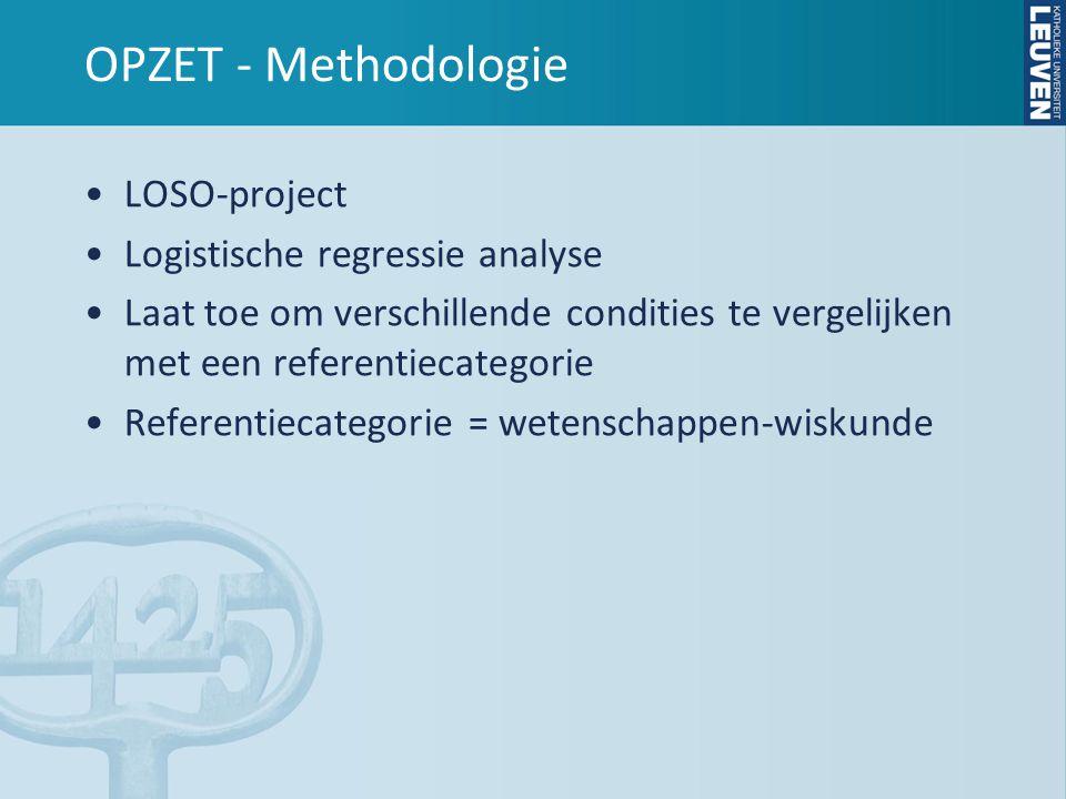 OPZET - Methodologie •LOSO-project •Logistische regressie analyse •Laat toe om verschillende condities te vergelijken met een referentiecategorie •Referentiecategorie = wetenschappen-wiskunde