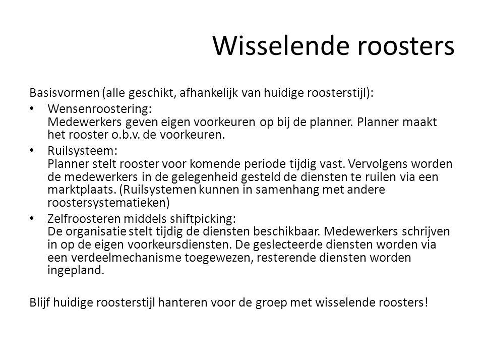 Wisselende roosters Basisvormen (alle geschikt, afhankelijk van huidige roosterstijl): • Wensenroostering: Medewerkers geven eigen voorkeuren op bij d