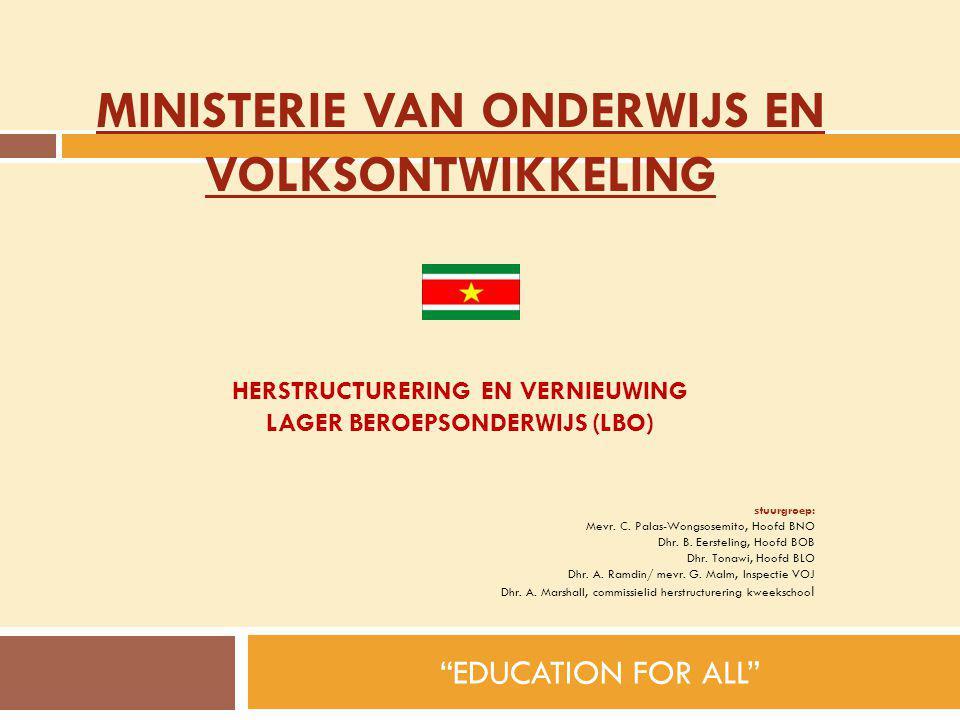 """HERSTRUCTURERING EN VERNIEUWING LAGER BEROEPSONDERWIJS (LBO) """"EDUCATION FOR ALL"""" stuurgroep: Mevr. C. Palas-Wongsosemito, Hoofd BNO Dhr. B. Eersteling"""