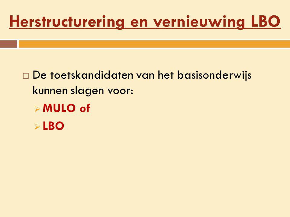 Herstructurering en vernieuwing LBO  De toetskandidaten van het basisonderwijs kunnen slagen voor:  MULO of  LBO