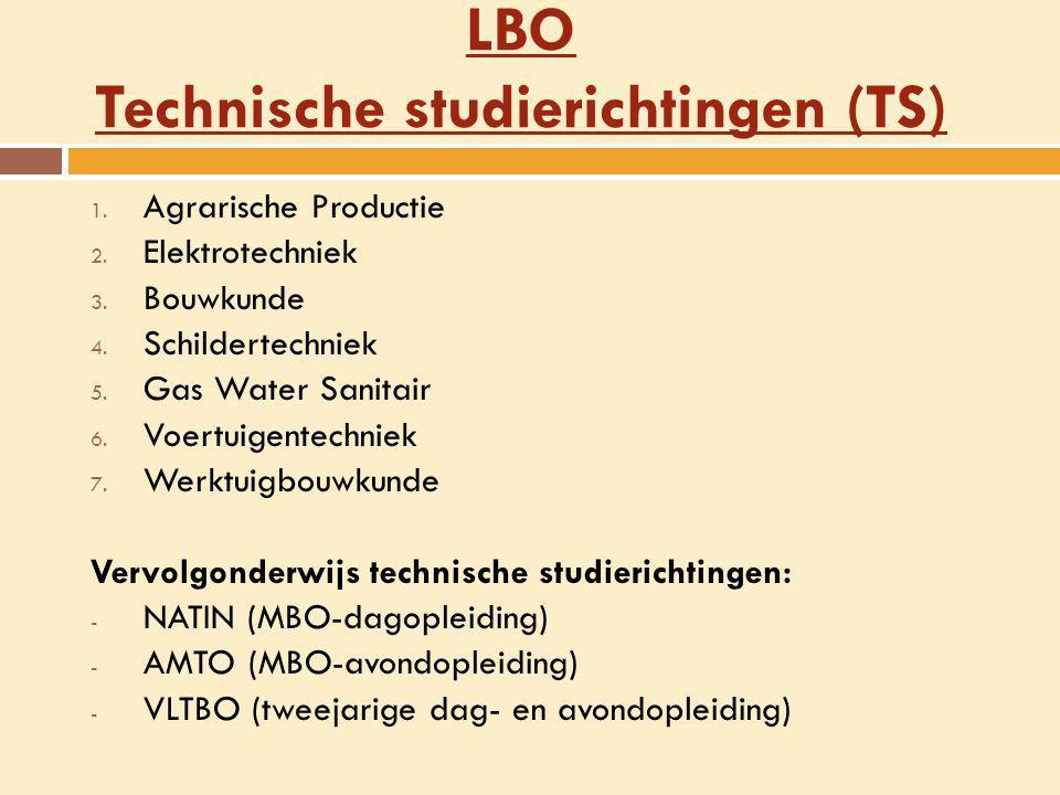 LBO Technische studierichtingen (TS) 1. Agrarische Productie 2. Elektrotechniek 3. Bouwkunde 4. Schildertechniek 5. Gas Water Sanitair 6. Voertuigente