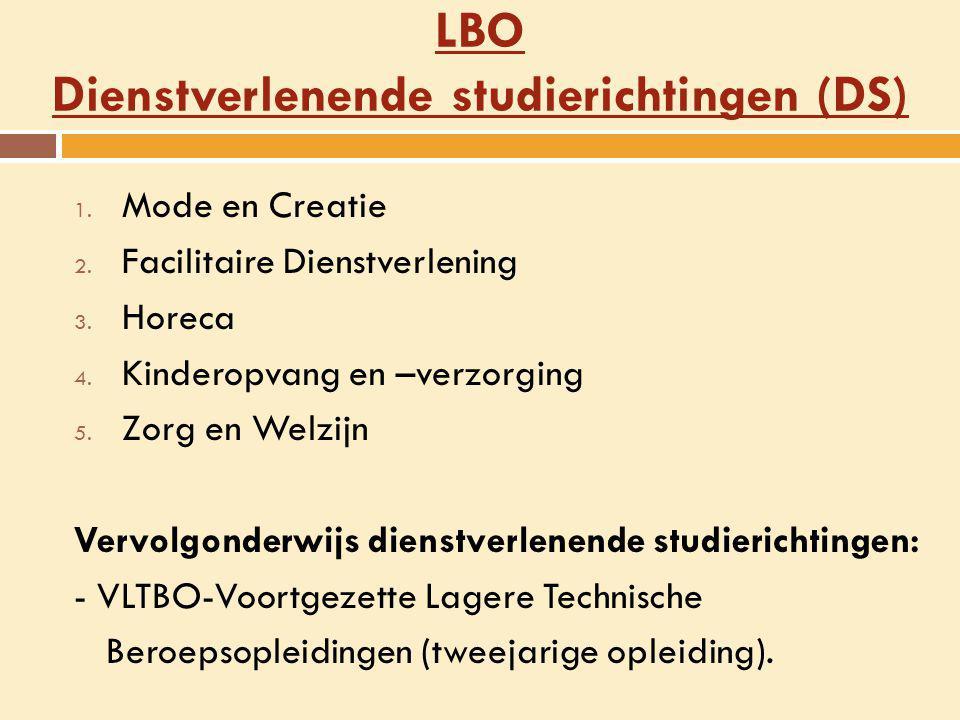 LBO Dienstverlenende studierichtingen (DS) 1. Mode en Creatie 2. Facilitaire Dienstverlening 3. Horeca 4. Kinderopvang en –verzorging 5. Zorg en Welzi