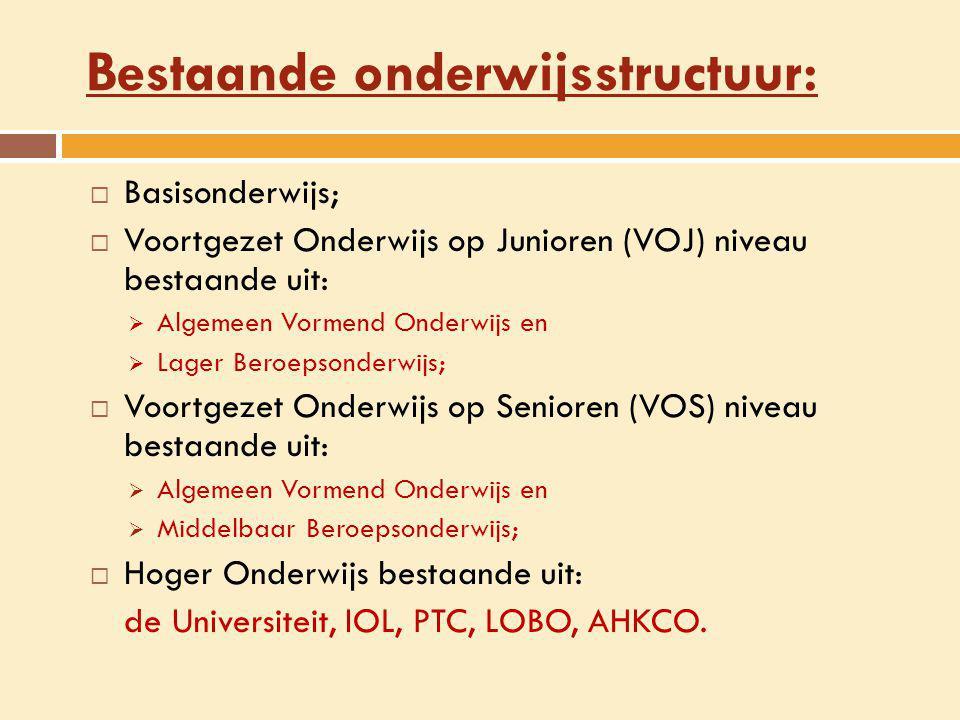 Bestaande onderwijsstructuur:  Basisonderwijs;  Voortgezet Onderwijs op Junioren (VOJ) niveau bestaande uit:  Algemeen Vormend Onderwijs en  Lager