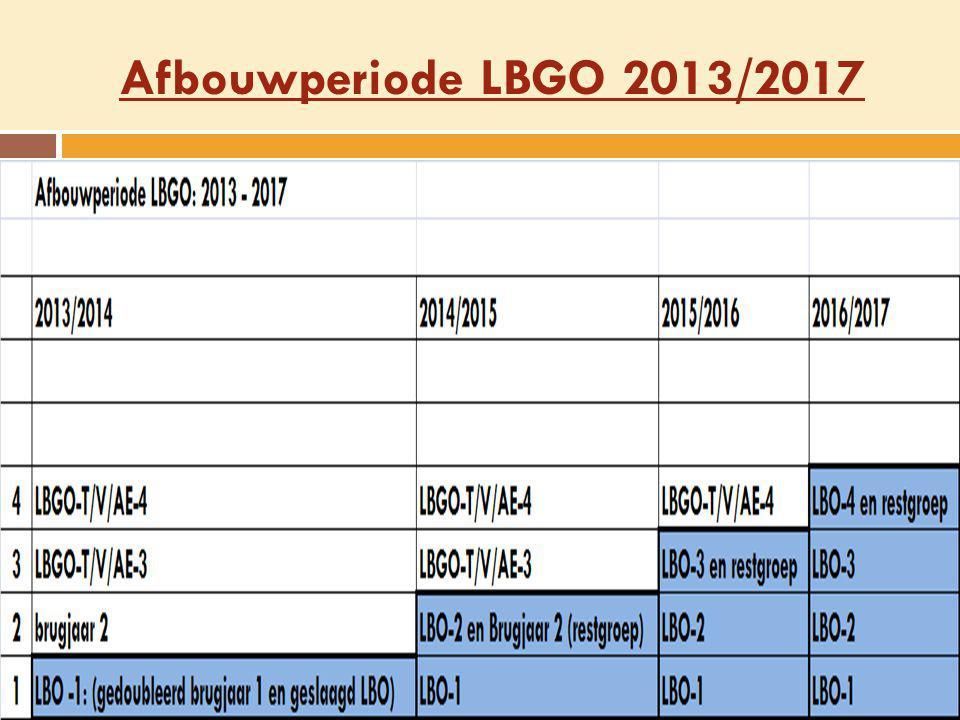 Afbouwperiode LBGO 2013/2017