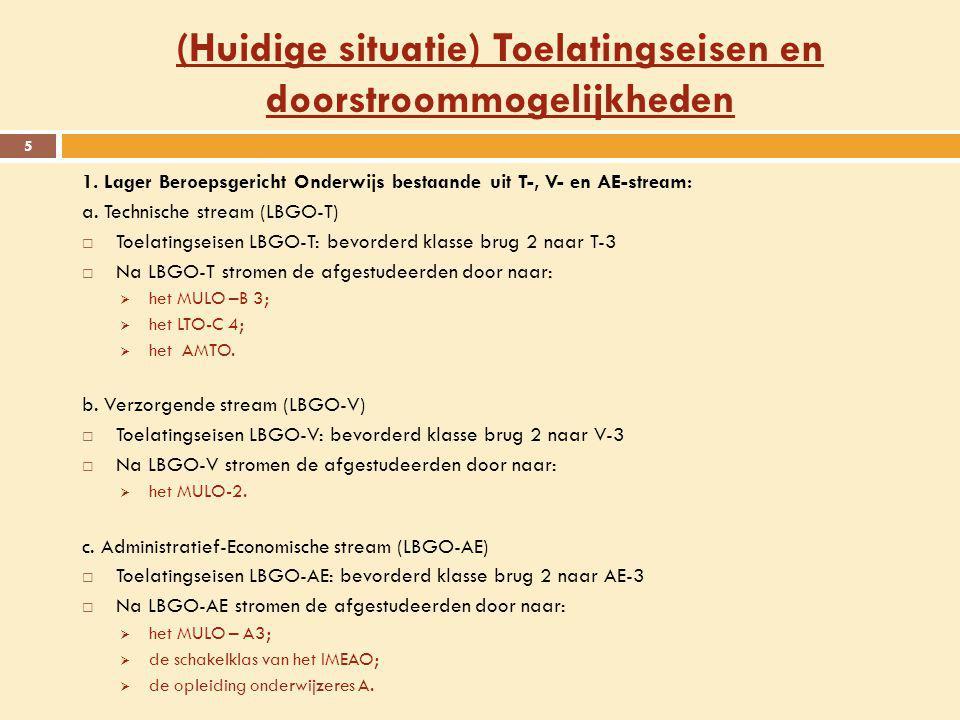 (Huidige situatie) Toelatingseisen en doorstroommogelijkheden 5 1. Lager Beroepsgericht Onderwijs bestaande uit T-, V- en AE-stream: a. Technische str