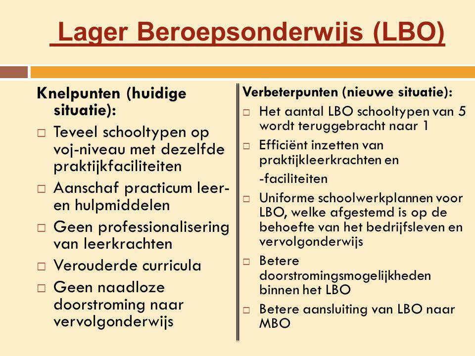 Lager Beroepsonderwijs (LBO) Knelpunten (huidige situatie):  Teveel schooltypen op voj-niveau met dezelfde praktijkfaciliteiten  Aanschaf practicum