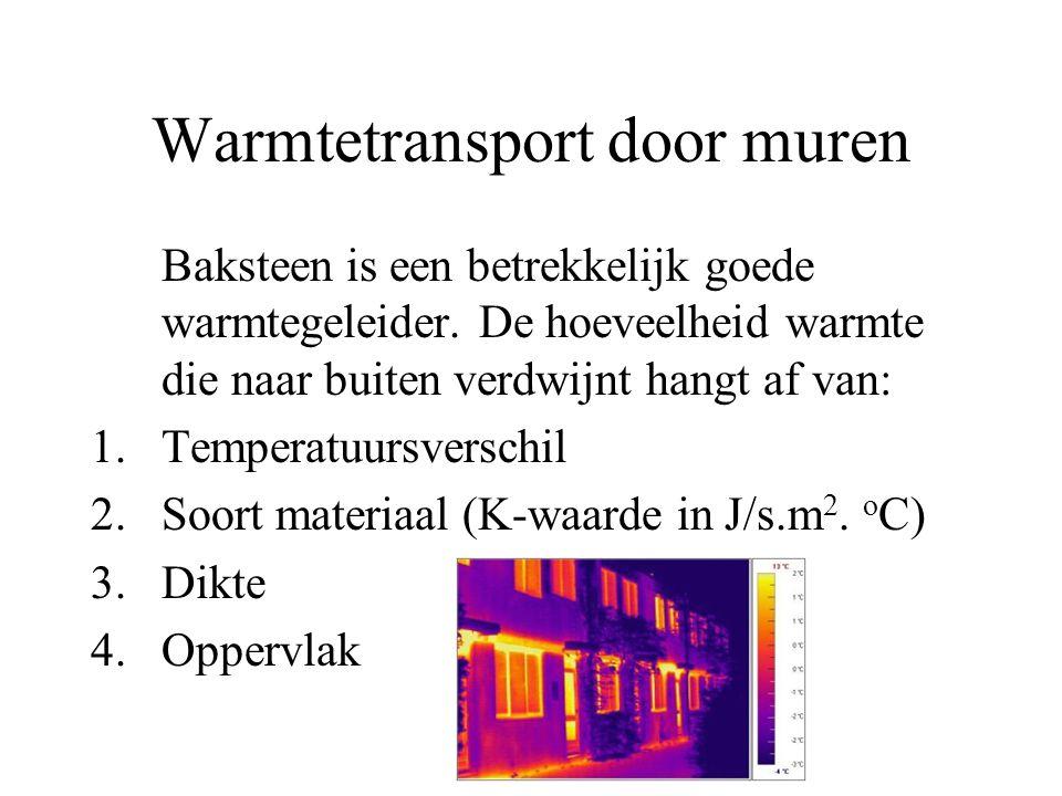 Warmtetransport door muren Baksteen is een betrekkelijk goede warmtegeleider. De hoeveelheid warmte die naar buiten verdwijnt hangt af van: 1.Temperat