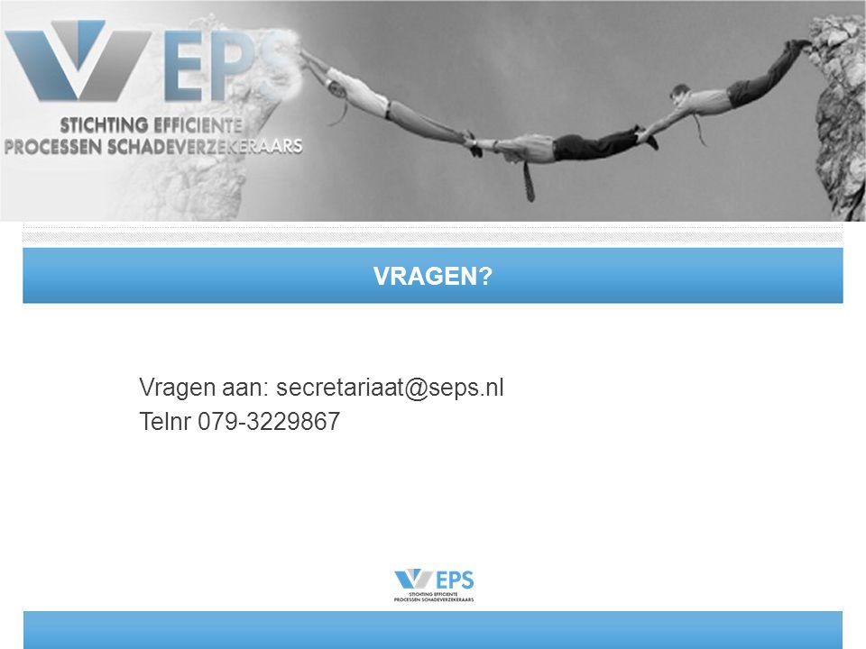 VRAGEN? Vragen aan: secretariaat@seps.nl Telnr 079-3229867
