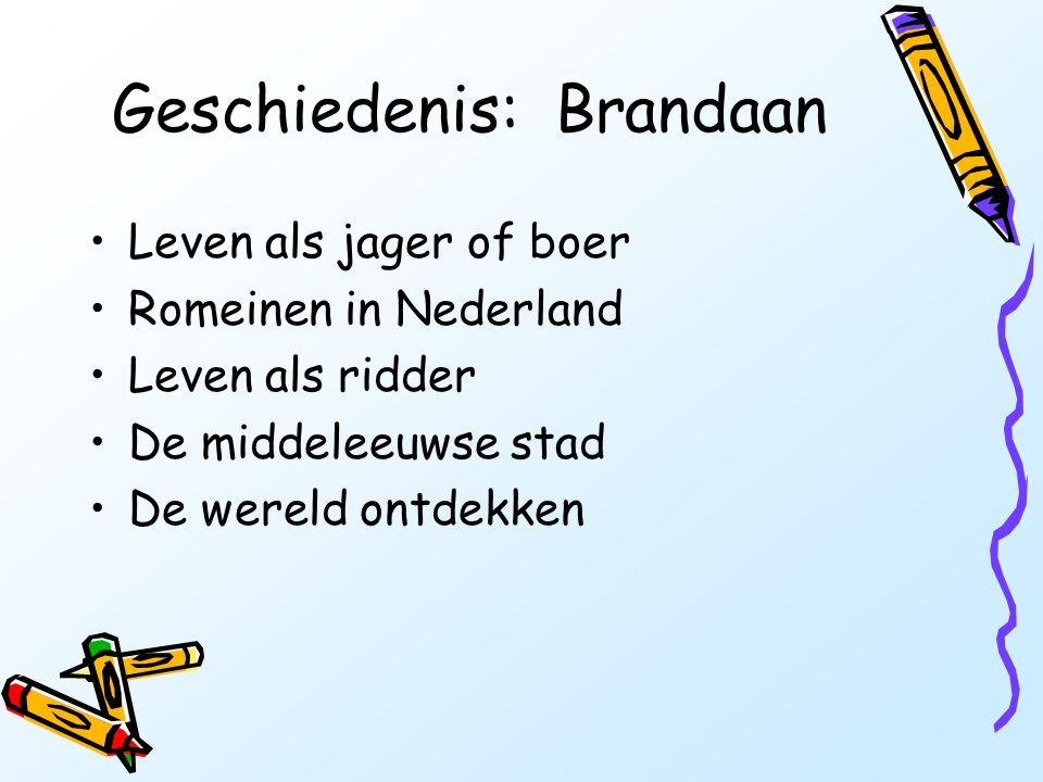 Geschiedenis: Brandaan •Leven als jager of boer •Romeinen in Nederland •Leven als ridder •De middeleeuwse stad •De wereld ontdekken