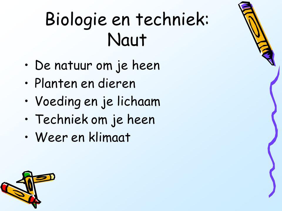 Biologie en techniek: Naut •De natuur om je heen •Planten en dieren •Voeding en je lichaam •Techniek om je heen •Weer en klimaat