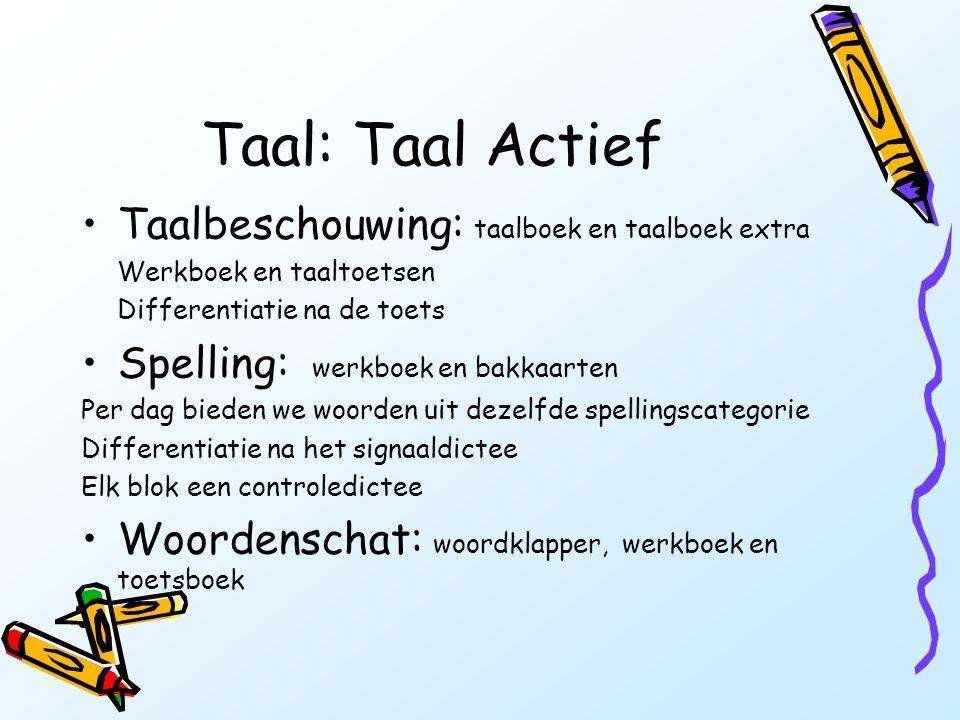 Taal: Taal Actief •Taalbeschouwing: taalboek en taalboek extra Werkboek en taaltoetsen Differentiatie na de toets •Spelling: werkboek en bakkaarten Pe