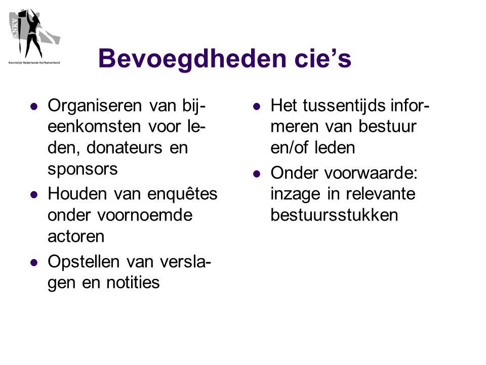 Bevoegdheden cie's  Organiseren van bij- eenkomsten voor le- den, donateurs en sponsors  Houden van enquêtes onder voornoemde actoren  Opstellen van versla- gen en notities  Het tussentijds infor- meren van bestuur en/of leden  Onder voorwaarde: inzage in relevante bestuursstukken