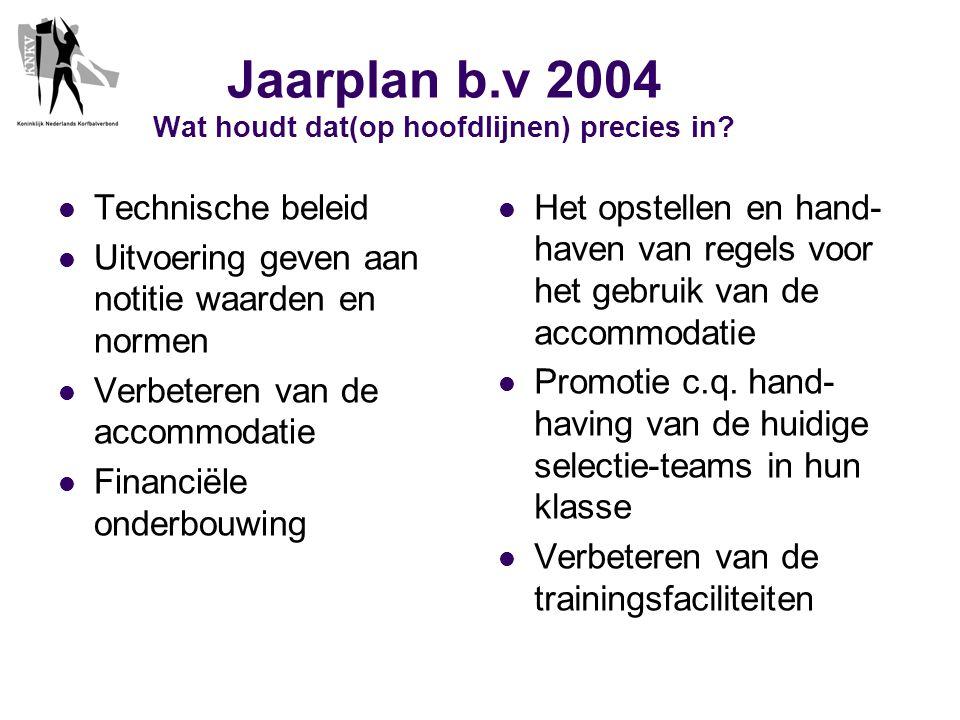 Jaarplan b.v 2004 Wat houdt dat(op hoofdlijnen) precies in.
