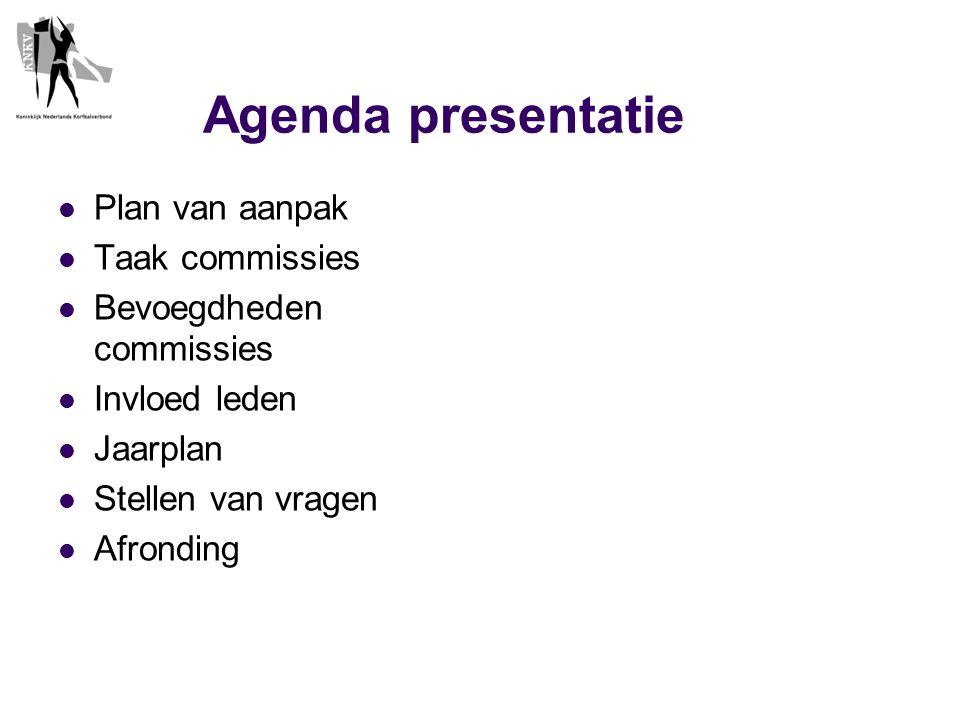 Agenda presentatie  Plan van aanpak  Taak commissies  Bevoegdheden commissies  Invloed leden  Jaarplan  Stellen van vragen  Afronding