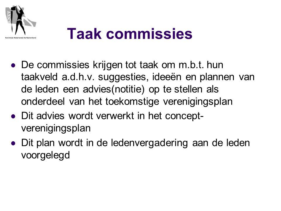 Taak commissies  De commissies krijgen tot taak om m.b.t.