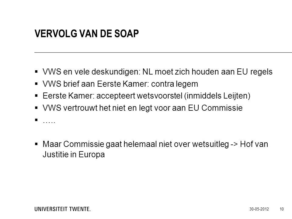  VWS en vele deskundigen: NL moet zich houden aan EU regels  VWS brief aan Eerste Kamer: contra legem  Eerste Kamer: accepteert wetsvoorstel (inmid