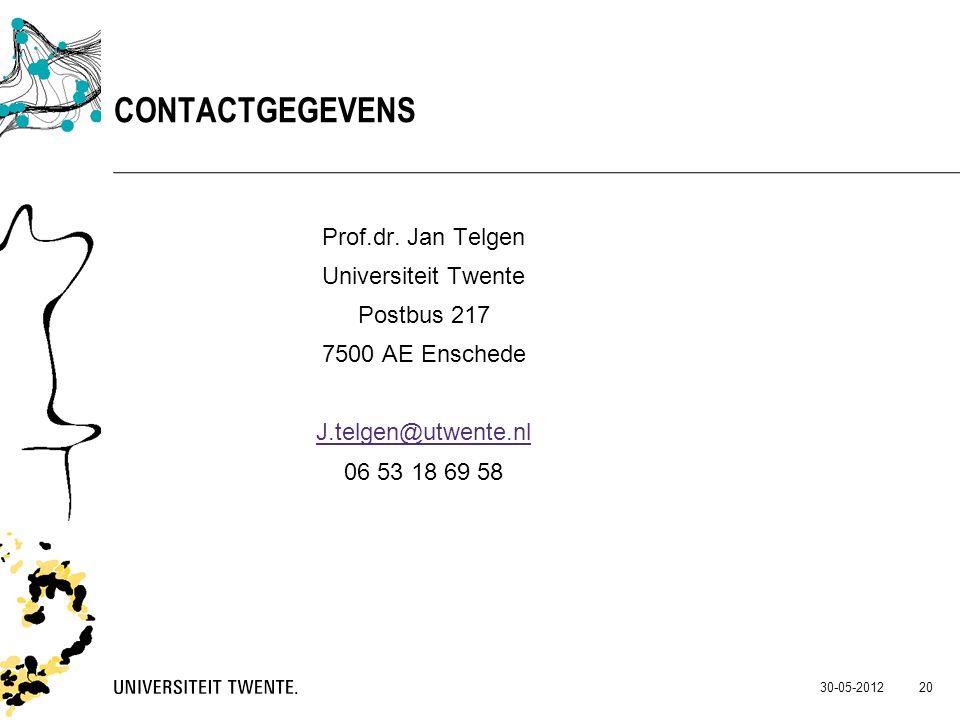 Prof.dr. Jan Telgen Universiteit Twente Postbus 217 7500 AE Enschede J.telgen@utwente.nl 06 53 18 69 58 30-05-2012 20 CONTACTGEGEVENS