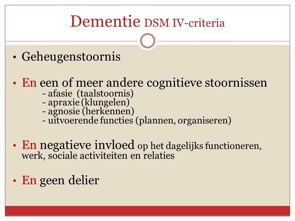 Dementie DSM IV-criteria • Geheugenstoornis • En een of meer andere cognitieve stoornissen - afasie (taalstoornis) - apraxie (klungelen) - agnosie (he