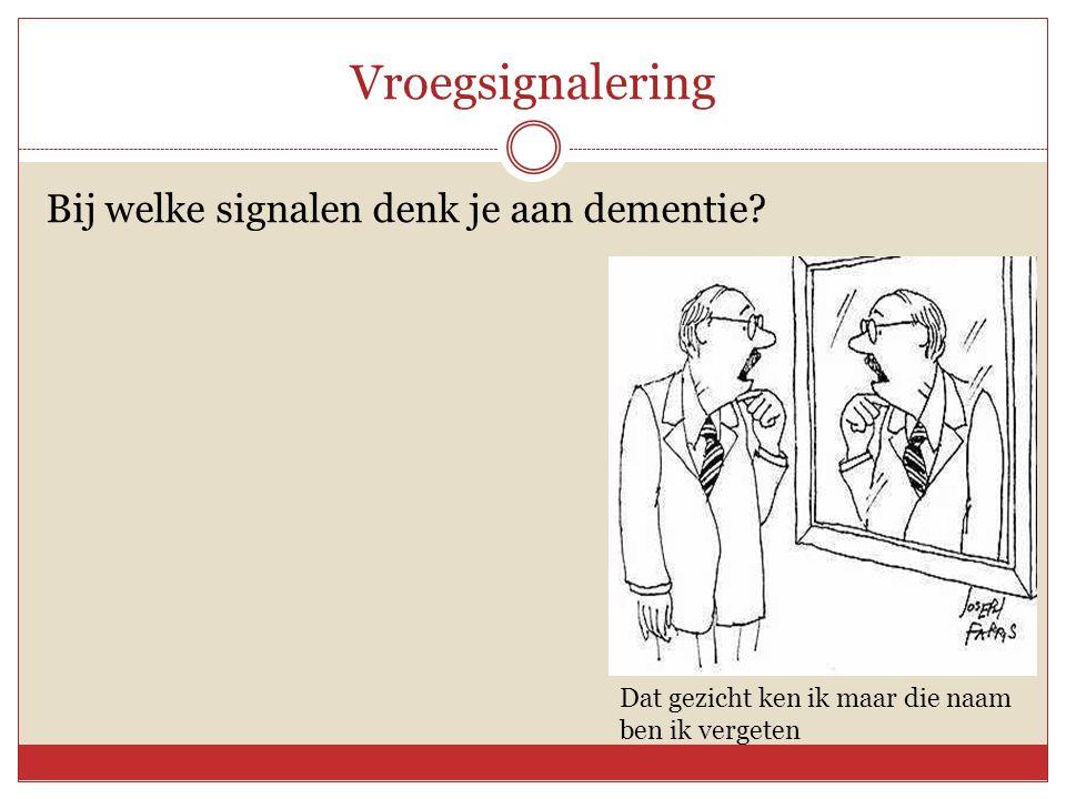 Vroegsignalering Bij welke signalen denk je aan dementie? Dat gezicht ken ik maar die naam ben ik vergeten
