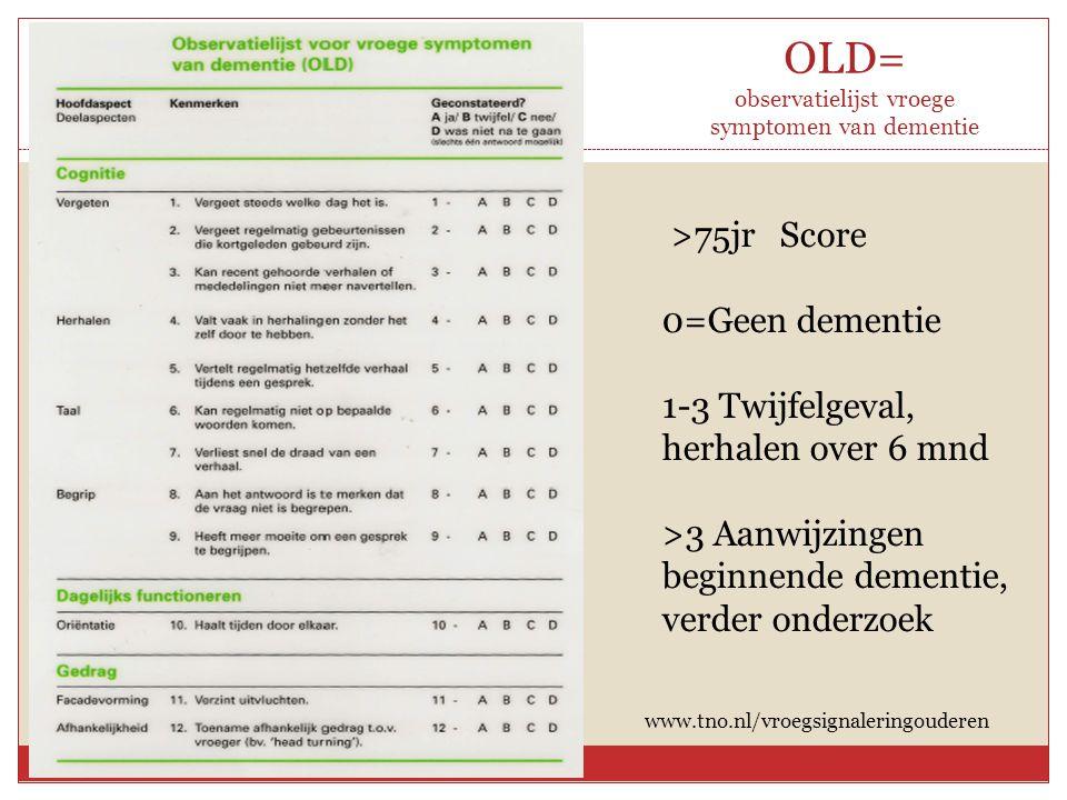 OLD= observatielijst vroege symptomen van dementie >75jr Score 0=Geen dementie 1-3 Twijfelgeval, herhalen over 6 mnd >3 Aanwijzingen beginnende dement