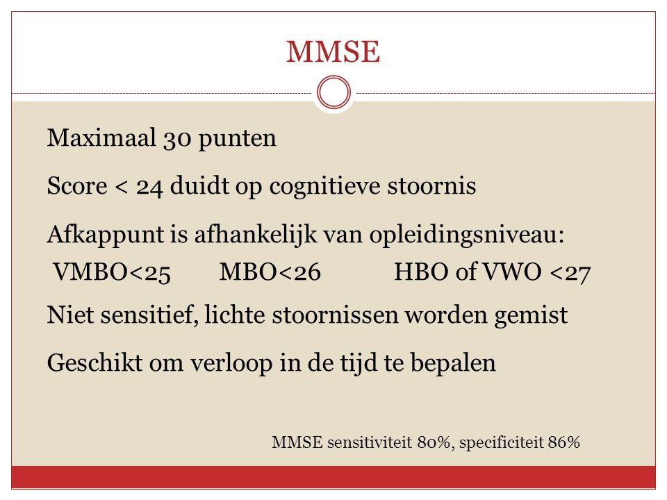 MMSE Maximaal 30 punten Score < 24 duidt op cognitieve stoornis Afkappunt is afhankelijk van opleidingsniveau: VMBO<25 MBO<26 HBO of VWO <27 Niet sens