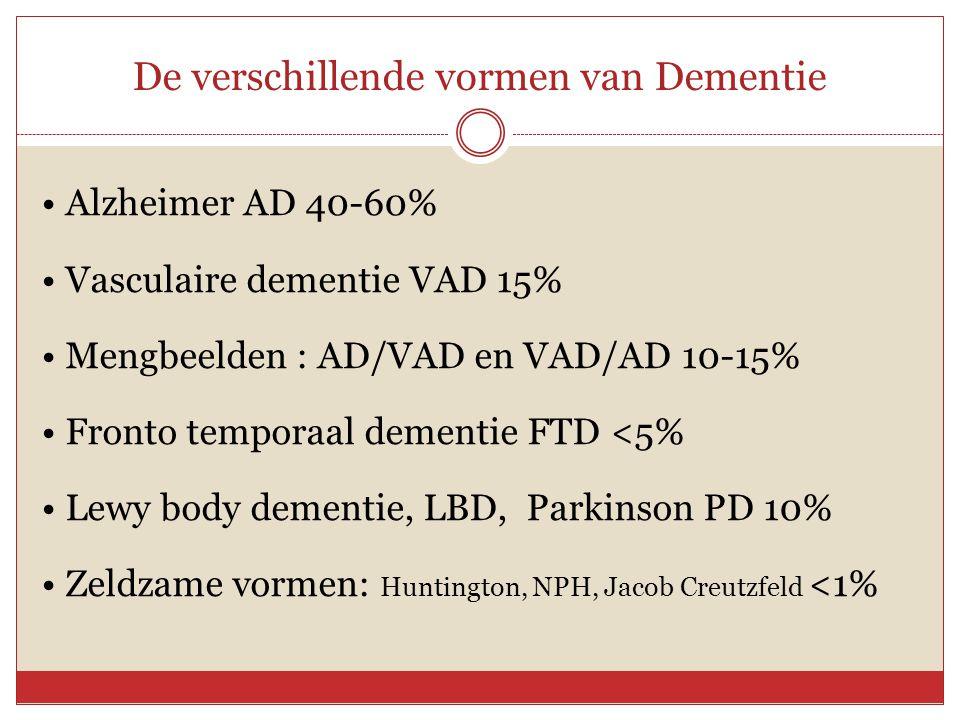 De verschillende vormen van Dementie • Alzheimer AD 40-60% • Vasculaire dementie VAD 15% • Mengbeelden : AD/VAD en VAD/AD 10-15% • Fronto temporaal de