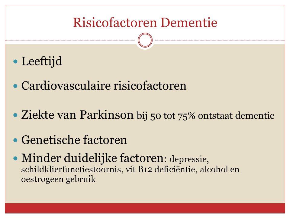 Risicofactoren Dementie  Leeftijd  Cardiovasculaire risicofactoren  Ziekte van Parkinson bij 50 tot 75% ontstaat dementie  Genetische factoren  M
