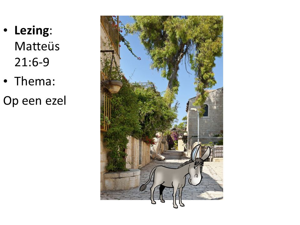 • Lezing: Matteüs 21:6-9 • Thema: Op een ezel