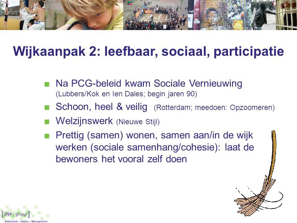 Wijkaanpak 2: leefbaar, sociaal, participatie ■ Na PCG-beleid kwam Sociale Vernieuwing (Lubbers/Kok en Ien Dales; begin jaren 90) ■ Schoon, heel & vei