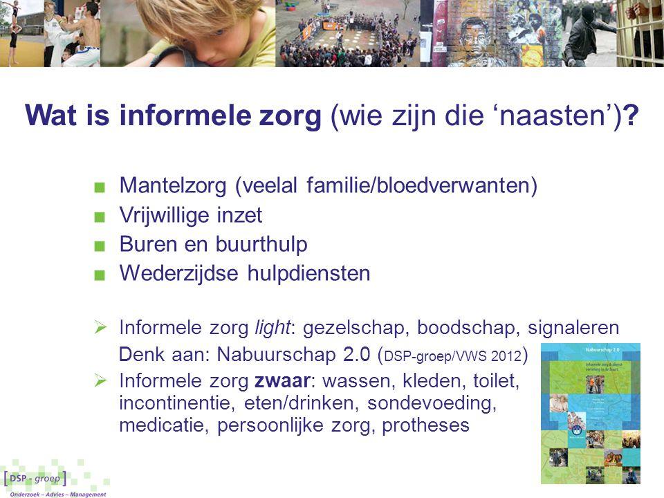 Wat is informele zorg (wie zijn die 'naasten')? ■ Mantelzorg (veelal familie/bloedverwanten) ■ Vrijwillige inzet ■ Buren en buurthulp ■ Wederzijdse hu
