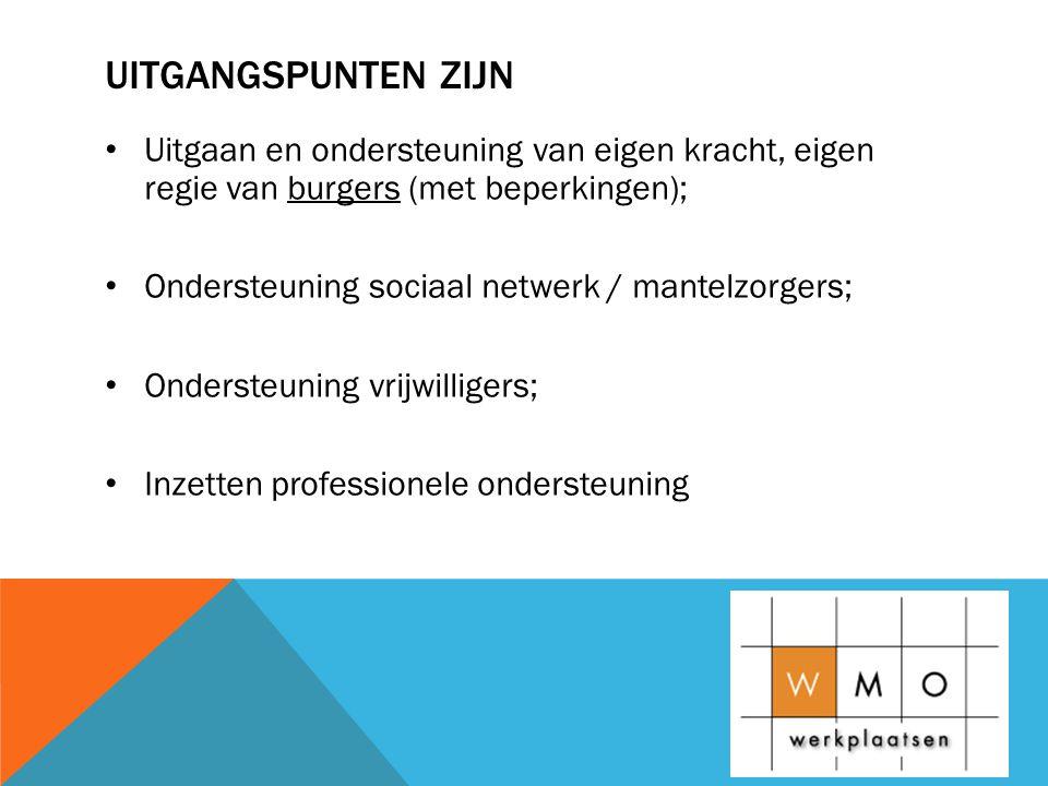 UITGANGSPUNTEN ZIJN • Uitgaan en ondersteuning van eigen kracht, eigen regie van burgers (met beperkingen); • Ondersteuning sociaal netwerk / mantelzorgers; • Ondersteuning vrijwilligers; • Inzetten professionele ondersteuning