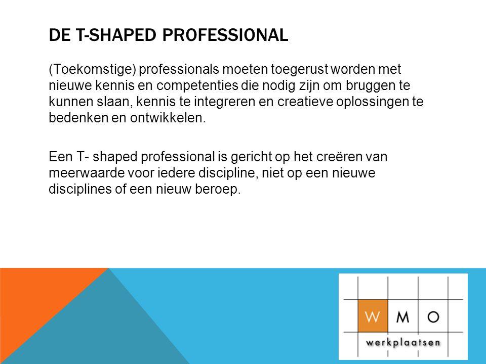 DE T-SHAPED PROFESSIONAL (Toekomstige) professionals moeten toegerust worden met nieuwe kennis en competenties die nodig zijn om bruggen te kunnen slaan, kennis te integreren en creatieve oplossingen te bedenken en ontwikkelen.