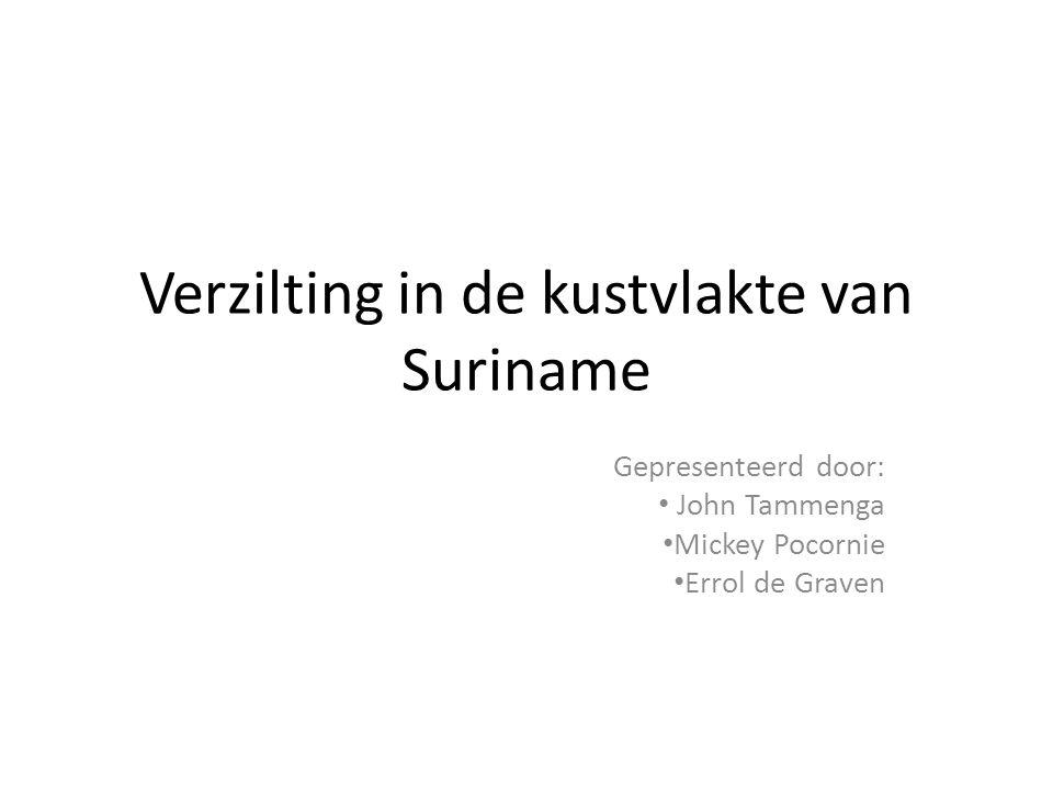 Verzilting in de kustvlakte van Suriname Gepresenteerd door: • John Tammenga • Mickey Pocornie • Errol de Graven