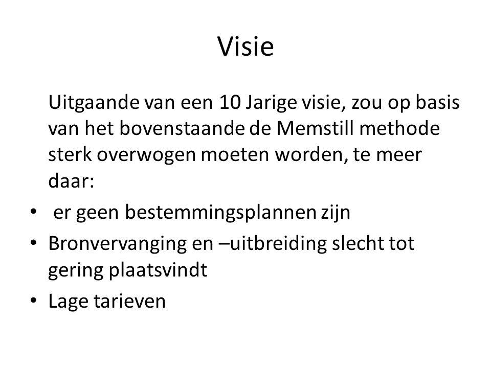 Visie Uitgaande van een 10 Jarige visie, zou op basis van het bovenstaande de Memstill methode sterk overwogen moeten worden, te meer daar: • er geen