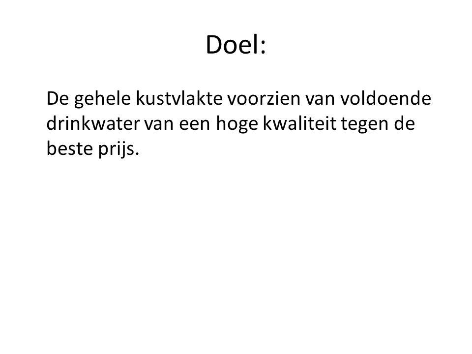Doel: De gehele kustvlakte voorzien van voldoende drinkwater van een hoge kwaliteit tegen de beste prijs.
