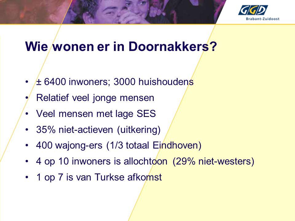 Doelgroep Alle inwoners van Doornakkers, met speciale aandacht voor: - risicogroepen wat hun gezondheid betreft, zoals chronisch zieken; - bewoners met een allochtone achtergrond; - ouderen; - (ouders van) kinderen in de leeftijd tot 19 jaar.