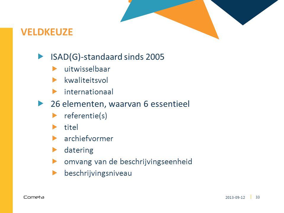 2013-09-12 33 | VELDKEUZE  ISAD(G)-standaard sinds 2005  uitwisselbaar  kwaliteitsvol  internationaal  26 elementen, waarvan 6 essentieel  referentie(s)  titel  archiefvormer  datering  omvang van de beschrijvingseenheid  beschrijvingsniveau