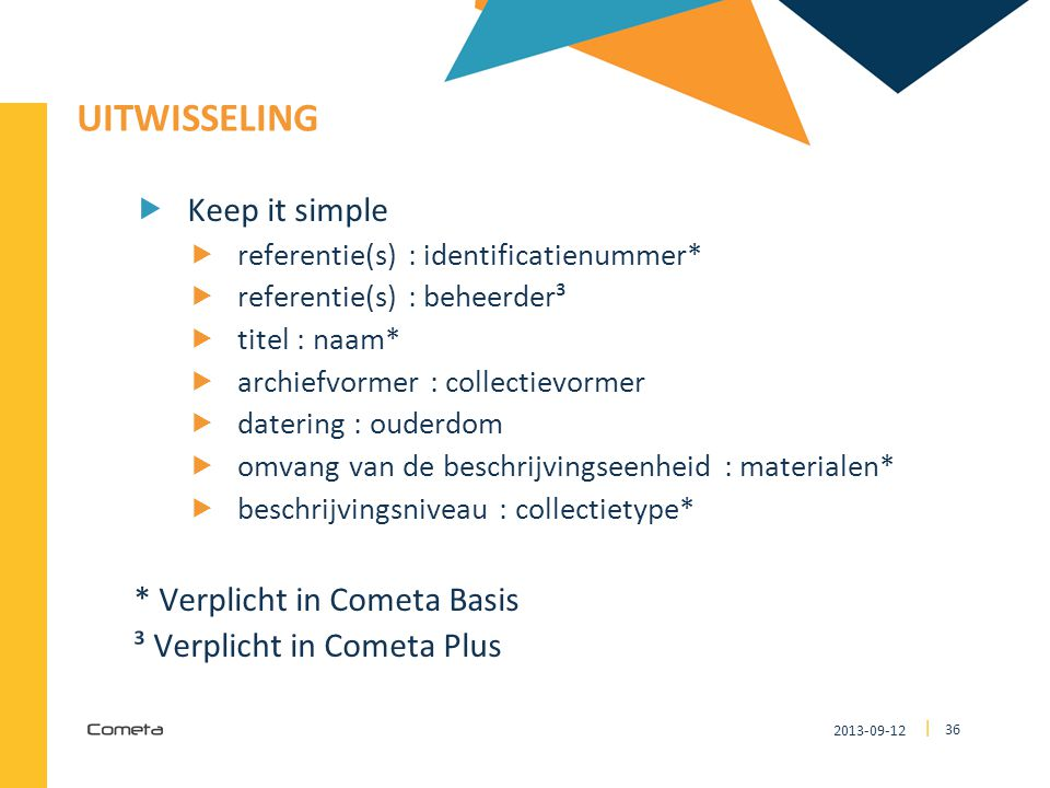 2013-09-12 36 | UITWISSELING  Keep it simple  referentie(s) : identificatienummer*  referentie(s) : beheerder³  titel : naam*  archiefvormer : collectievormer  datering : ouderdom  omvang van de beschrijvingseenheid : materialen*  beschrijvingsniveau : collectietype* * Verplicht in Cometa Basis ³ Verplicht in Cometa Plus
