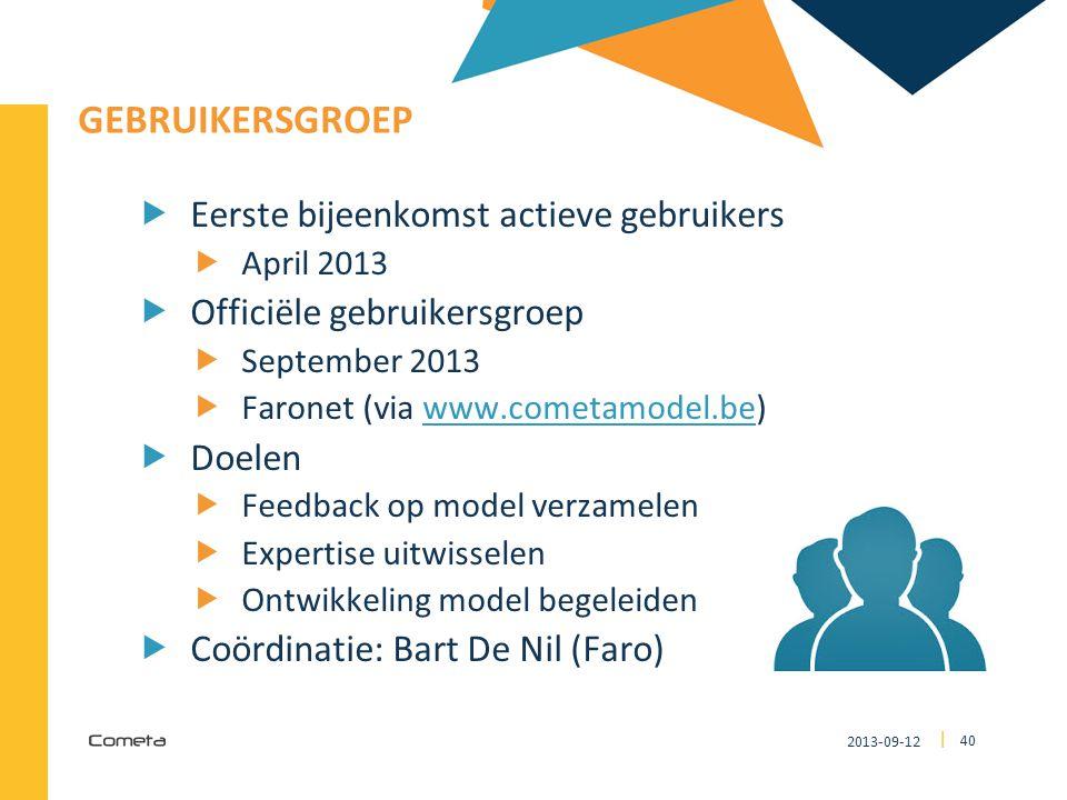 2013-09-12 40 | GEBRUIKERSGROEP  Eerste bijeenkomst actieve gebruikers  April 2013  Officiële gebruikersgroep  September 2013  Faronet (via www.cometamodel.be)www.cometamodel.be  Doelen  Feedback op model verzamelen  Expertise uitwisselen  Ontwikkeling model begeleiden  Coördinatie: Bart De Nil (Faro)